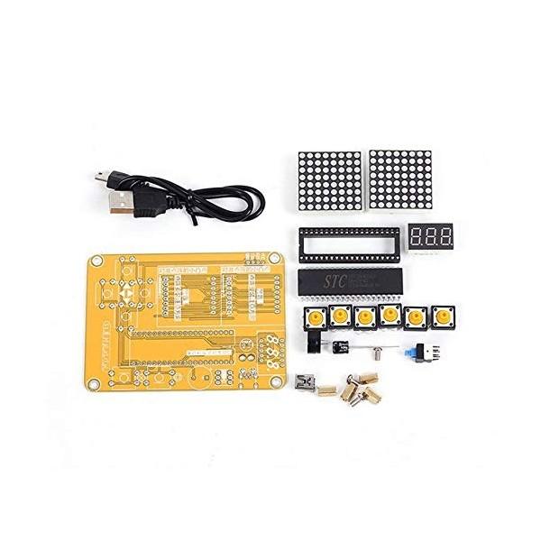 Electronic DIY Kit MCU Computer Game Machine DIY Snake Electronic for Tetris//Snake//Plane//RacingDot Matrix Game Kit Electronica
